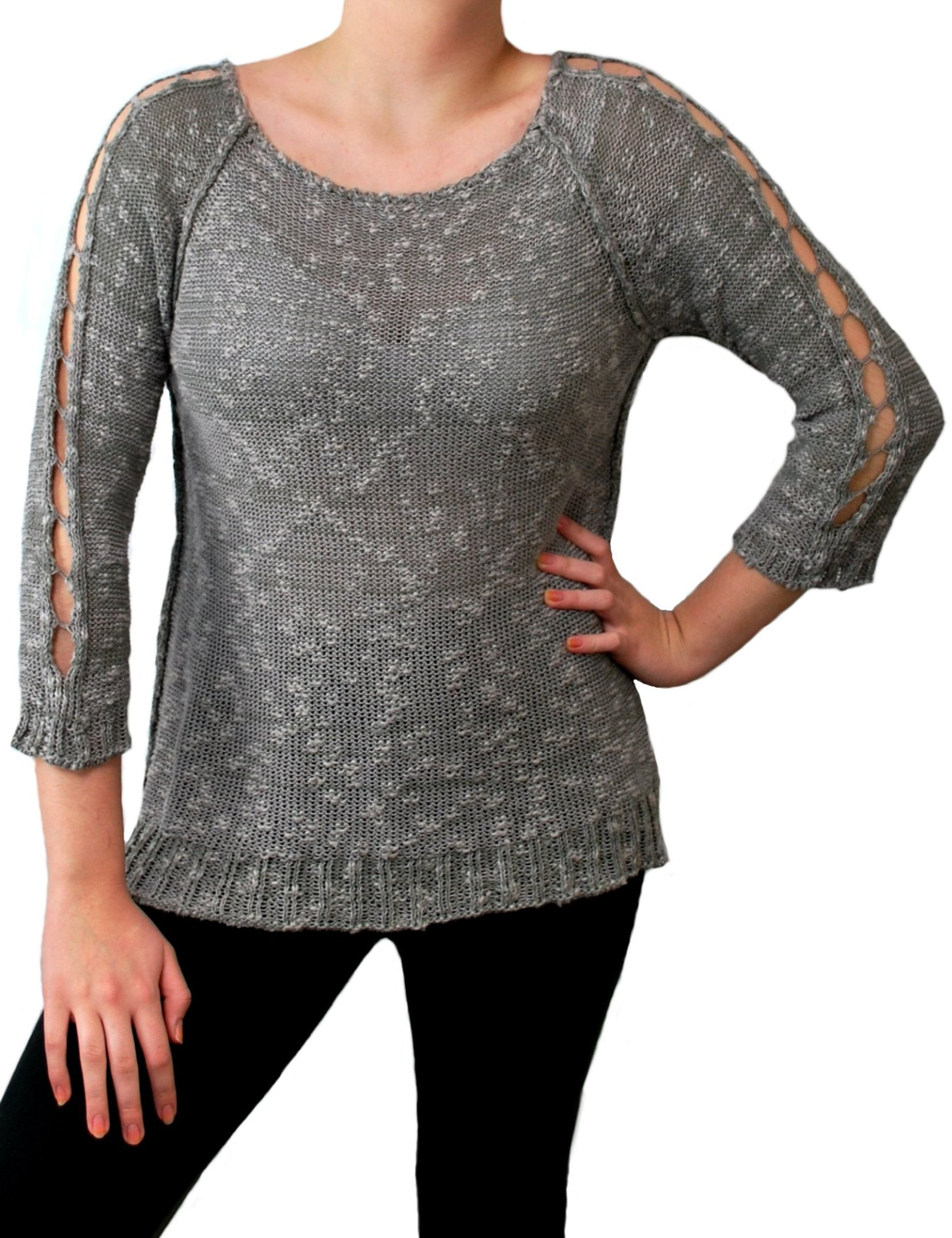 Ladder Sleeve Top Gray